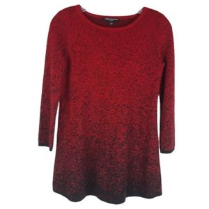 Women's cable and gauge small red & black sweater